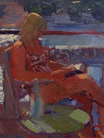 Bo Hilton Original Oil Painting Of A Woman Reading